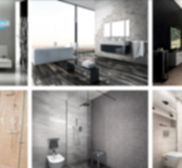 Slightly blurred image of tiles being used in setting such as living rooms and bathrooms