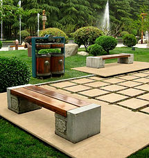 Cream coloured paving for outdoor courtyard