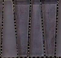 Sapphire triangular interlocking vertical glass tiles