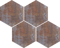 Hexagon shaped mosaic tiles, they are rust coloured