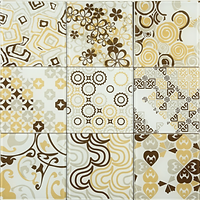 yellow, white and brown 3 x 3 squares with varous differet pattens, circles, swirls, squares etc
