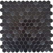 small black hexagons in a mosaic sheet