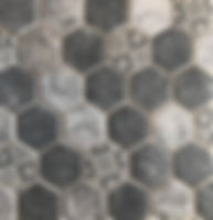 Hexagon mosaic with black, grey and white