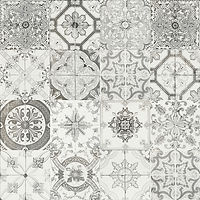 4 x 4 squares with ornate grey and black ceramic patterns