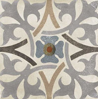 A square tile with a grey flower in the center with 4 florals intertwining around the flower