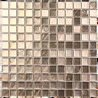 Light bronze glass mosaic tiles in a 300x300 grid