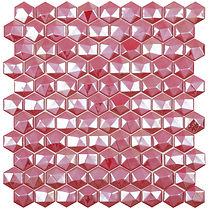 Ruby coloured diamond sheet of raised and flat glass mosaic