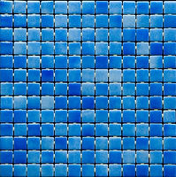 Ocean blue mix of glossy mosaic tiles in a 35 x 35 grid