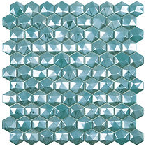 turquoise diamond sheet of raised and flat glass mosaic
