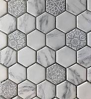 hexagon marble white interlocking mosaic