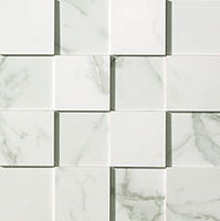 White calacatta interlocking square mosaic