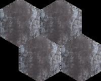 Hexagon shaped interlocking mosaic tiles with a black rust colour