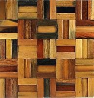 Burnt orange timber tiles look placed together
