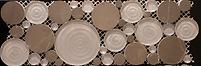 light grey and brown circular pebble shapped mosaic
