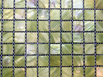 ligt green square grid of mosaic tiles