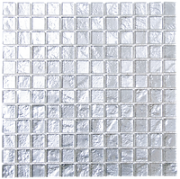 Silver glass mosaic tiles in a 300x300 grid