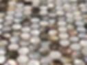 mixed pearl and brown hexagonal mosaic sheet