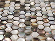 mixed pearl and brown hexagonal mosaic sheet