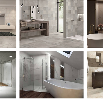 A slightly blurred screenshot of  concept gallery consisting of bathrooms