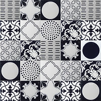 5 x 5 squares with ornate black and white ceramic patterns