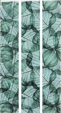 Three vertical rectangular strips with a slightly transparent green leaf pattern
