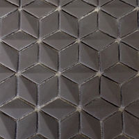 interlocking diamo mosaic tile with a glossy grey finish