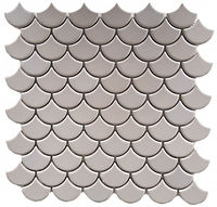 grey fishscale glossed mosaic tile
