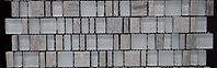Grey and silver mix of rectangular and square glass mosaics