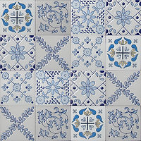 4 x 4 squares with ornate Blue and whi ceramic patternse