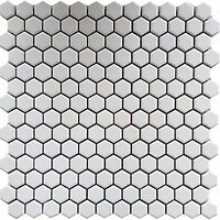 small white hexagons in a mosaic sheet