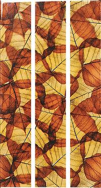 Three vertical rectangular strips with a slightly transparent orange leaf pattern