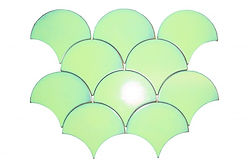 Light green fishscale interlocking ceramic mosaic tiles