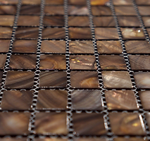 dark brown square grid of mosaic tiles