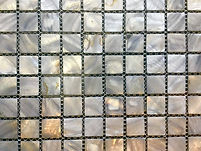 dull silver square grid of mosaic tiles
