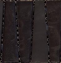 black triangular interlocking vertical glass tiles