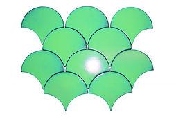 Electric green interlocking fishscale ceramic mosaic tiles