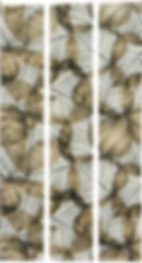 Three vertical rectangular strips with a slightly transparent beige leaf pattern