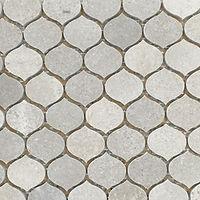 Matt grey teardrop shaped mosaic