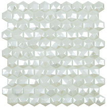 misty white diamond sheet of raised and flat glass mosaic