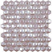 light pink diamond sheet of raised and flat glass mosaic