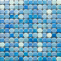 Light Blue mix glossy mosaic tiles in a 35 x 35 grid