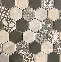 hexagon inerlocking mosaic with white, black and grey finish