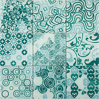 green and white 3 x 3 squares with varous differet pattens, circles, swirls, squares etc