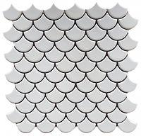 white matte fishscale tile