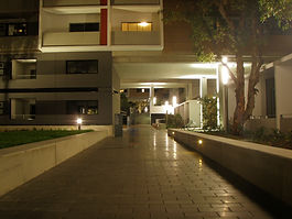 Charcoal Pavement on a path leading through the student accomodation at UNSW