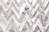 white marble look Jagged interlocking rectangular tiles, forming a raised uneven surface