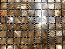 brown coloured square grid of mosaic tiles