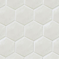 Light grey hexagon shaped mosaic tiles, interlocking