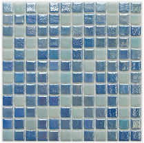 mixed blue and white glossy mosaic tiles in a 35 x 35 grid