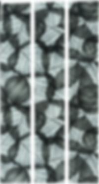 Three vertical rectangular strips with a slightly transparent black leaf pattern